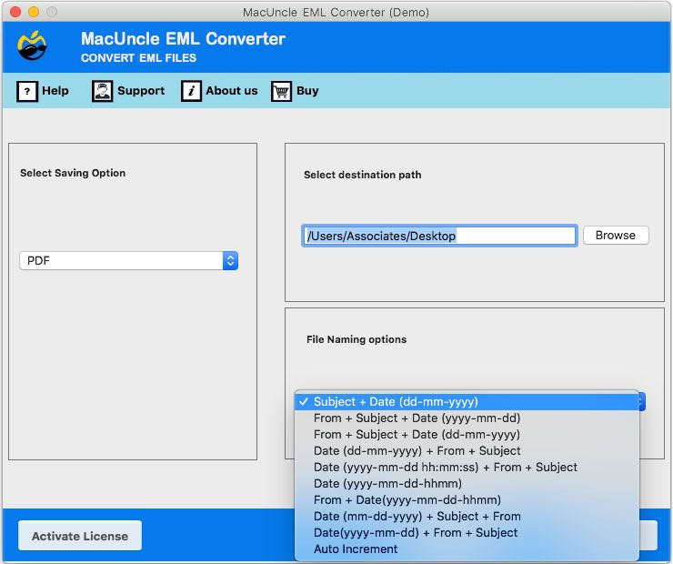Convert EML files from Windows Live Mail to PDF format