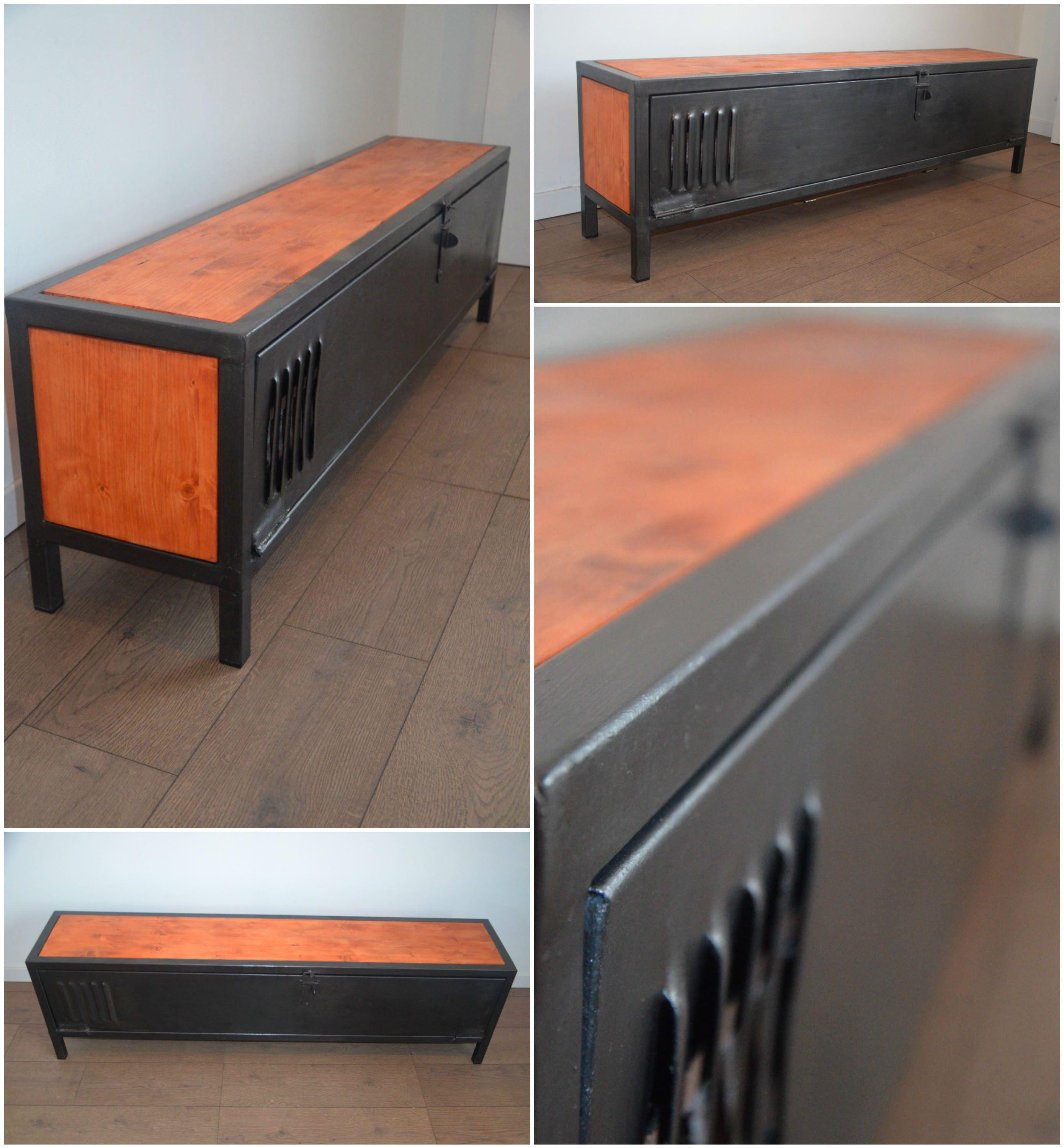 Industrial Wood Metal Tv Stand Meuble Tv Bois Et M Tal N O  # Table Tv Bois Design