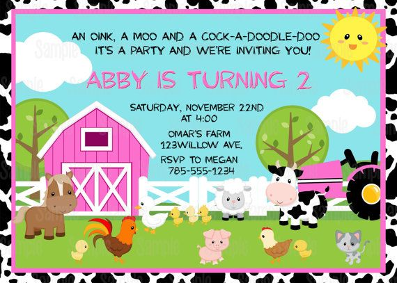 printable farm animals birthday party invitation plus free blank