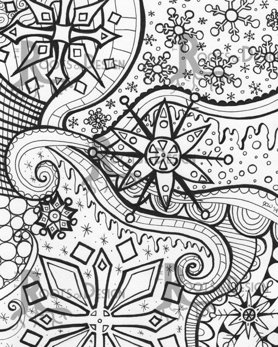 INSTANT DOWNLOAD Coloring Page - Snowflake Doodle/ zendoodle ...