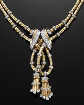 Yellow Gold and Diamond Retro Tassel Necklace by Mauboussin, circa 1940s