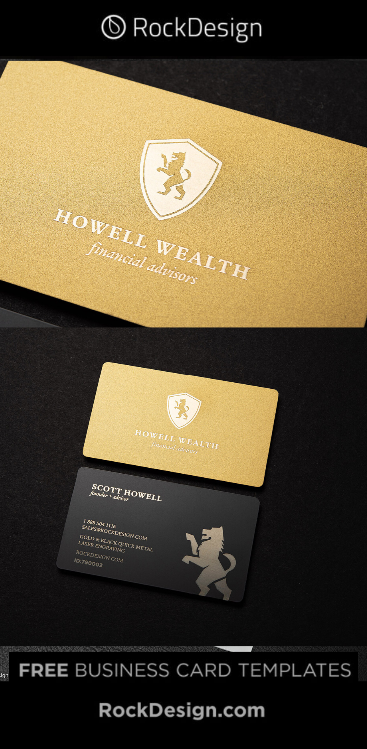 Prestigious Black Gold Laser Engraved Metal Business Card Template Design Howell W Business Card Template Design Luxury Business Cards Business Card Design