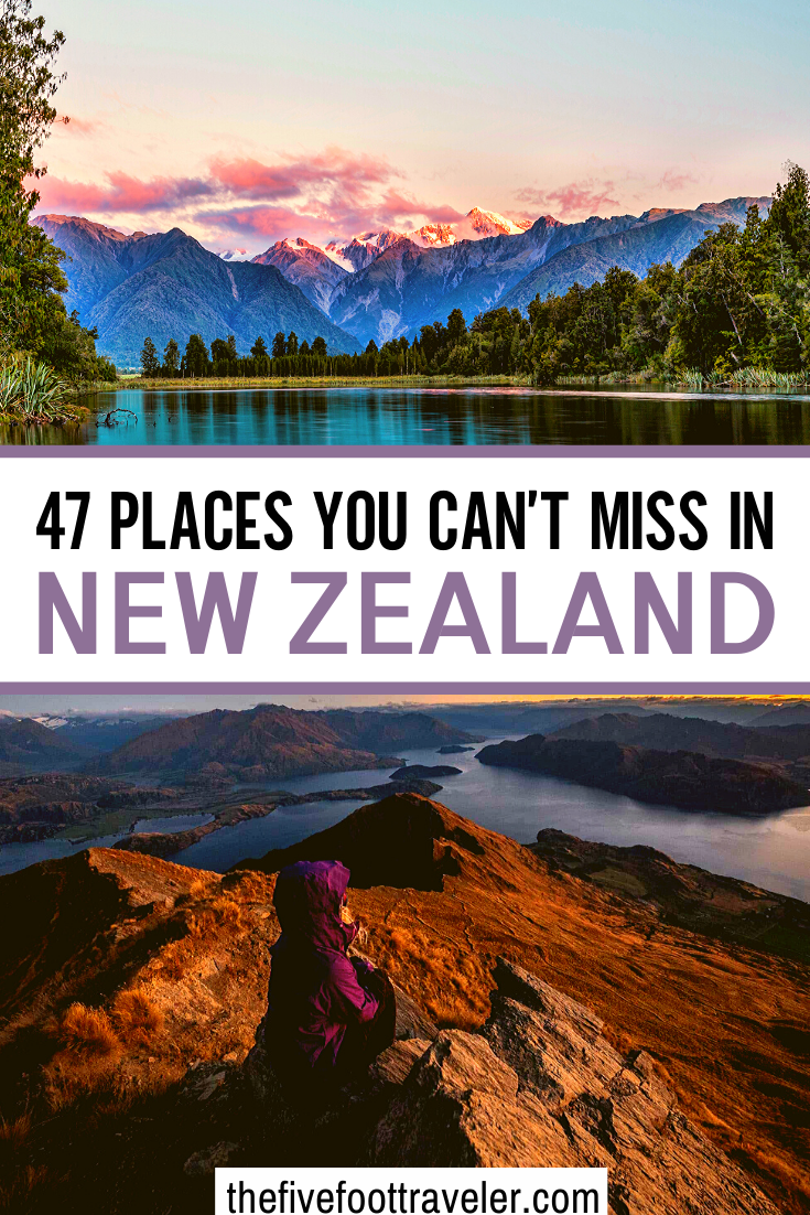 This is the ultimate New Zealand Bucket List! 47 awe inspiring places to visit in New Zealand to plan the perfect trip. One of the most beautiful country on earth, and still relatively untouched, New Zealand has so many things to discover! Here is my list of the best things to do in New Zealand. New Zealand Travel Tips | New Zealand Travel Guide | New Zealand Itinerary | What to do in New Zealand | #newzealand #traveltips