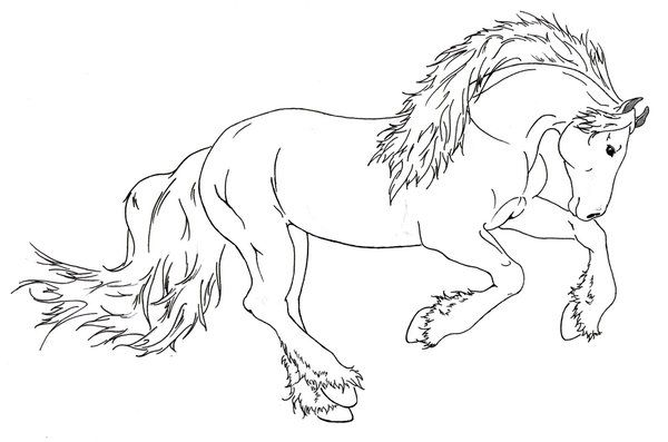 Draft Horse Running By Requay On Deviantart Horse Coloring Pages