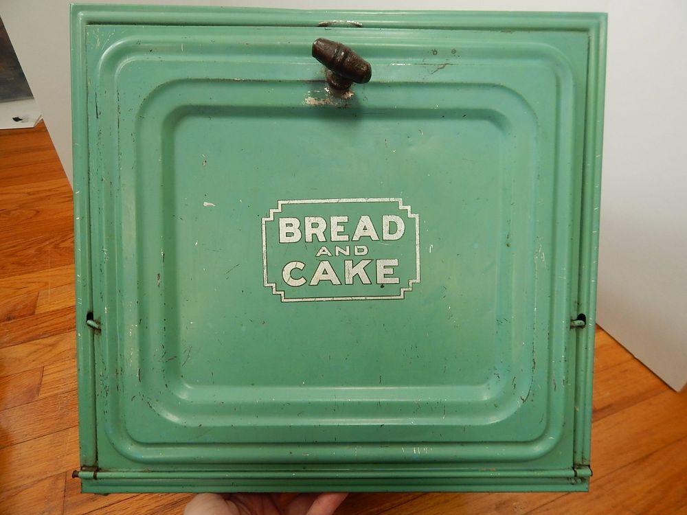 Vintage Jadite Green Bread Cake Box Metal Large With Shelf