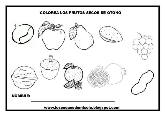 Colorea Los Frutos Secos De Otoño Nombre Wwwlospequesdemicole