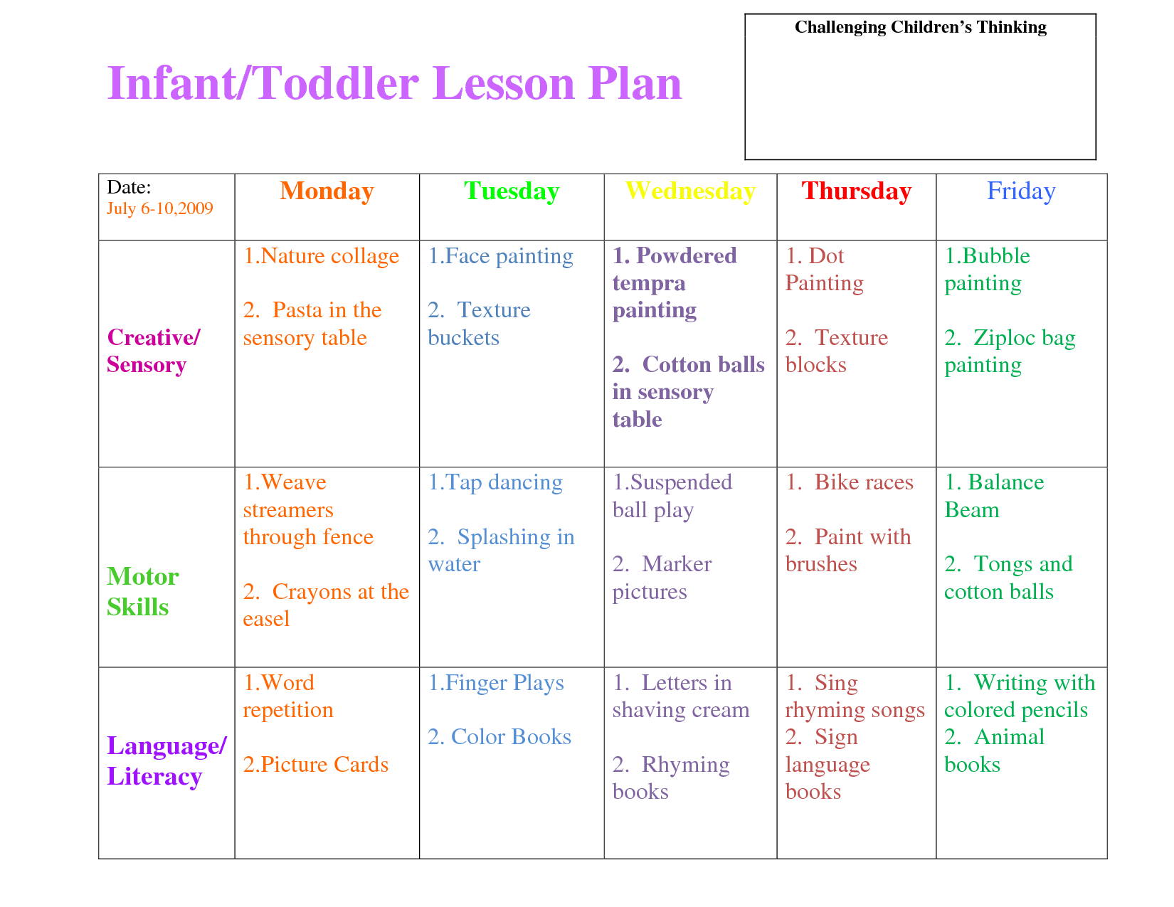 Infant Toddlers Lesson Plan Infant Toddlers Lesson Plan - Pe lesson plan template blank