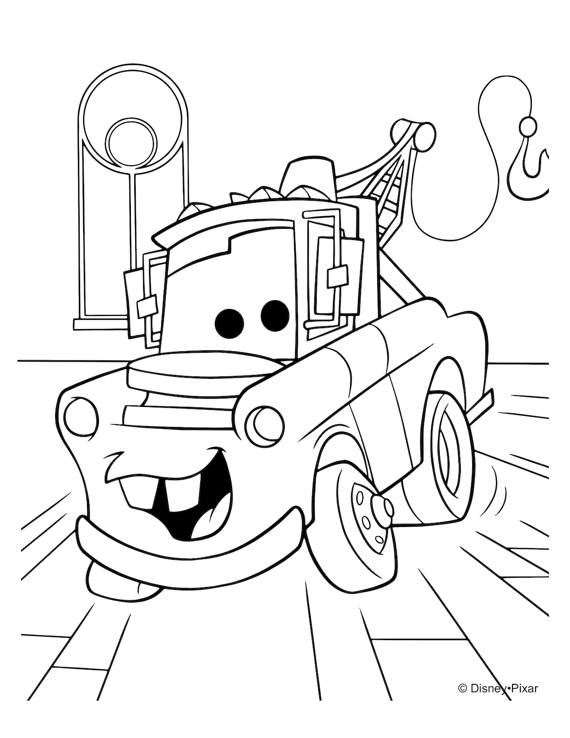 Free Disney Cars Coloring Pages Mater At Kidspartywoks Com Cars Coloring Pages Truck Coloring Pages Race Car Coloring Pages