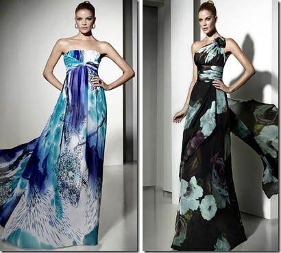 Vestidos de noche estampados elegantes