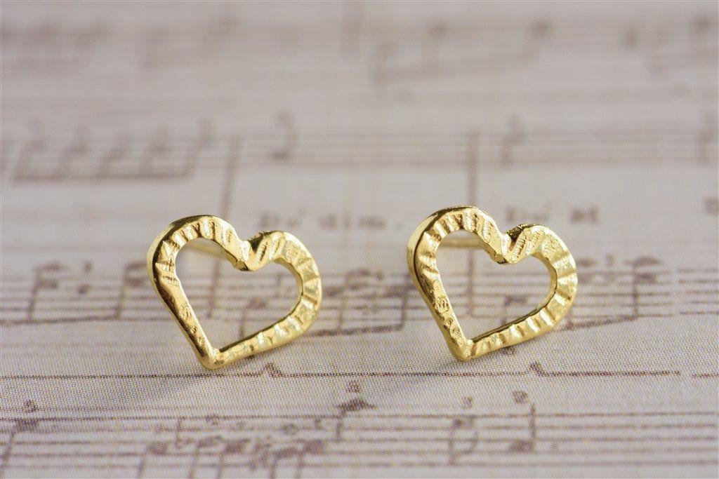187b0b2e11bd40 Heart Stud Earrings, Small Heart Earrings, Heart Post Earrings, 14K Gold  Plated OR Sterling Silver Stud Earrings, LOVE Jewelry, Gift for Her