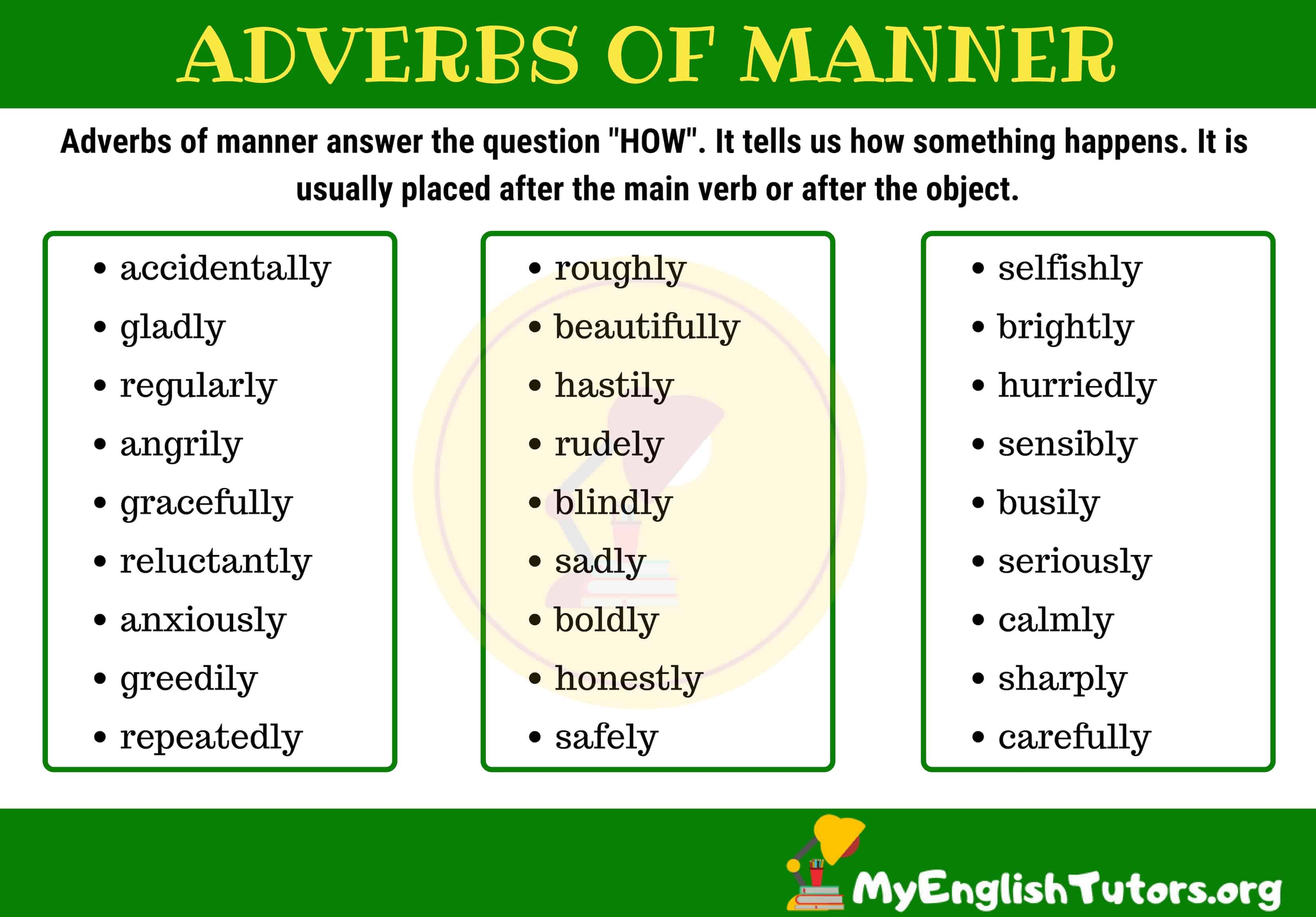 small resolution of Adverbs of Manner   English vocabulary words