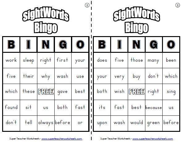 Play Sight Word Bingo to teach young readers to recognize
