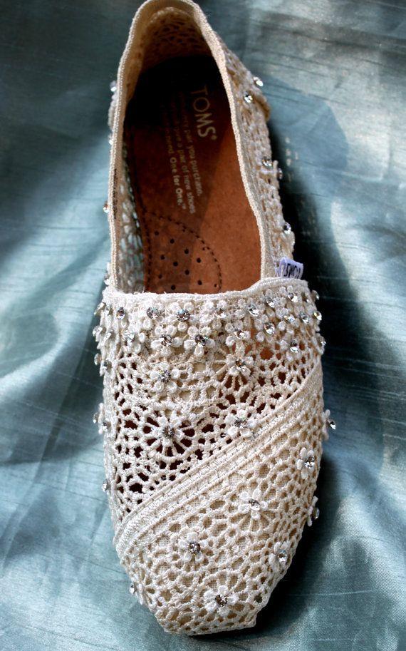 Custom Wedding TOMS Swarovski Crystal TOMS by TheCrystalSlipper   I just want them for everydayyy