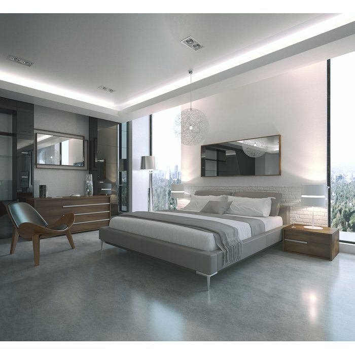 Contemporary Upholstered Platform Bed | Cheap bedroom ...