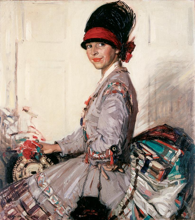 The Silk Dress c. 1918, Eleanor Allen Moore, self-portrait, oil on canvas.
