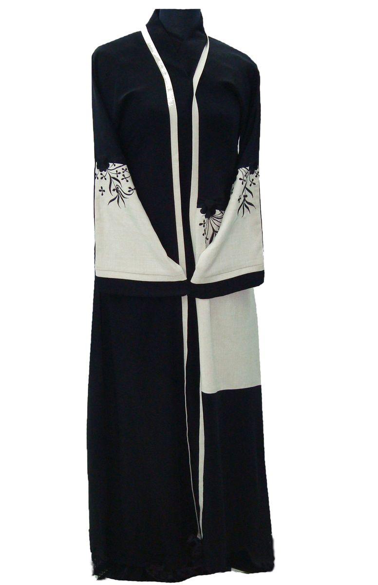 d5d17a7d04 Kaftan Abaya · Muslim Dress · Islamic Clothing · Hayaa Clothing - LINEN  embroidered front Stylish Dubai Abaya