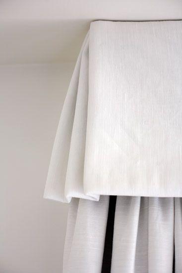 White Linen Box Pleated Valance With Kick Pleat Corners