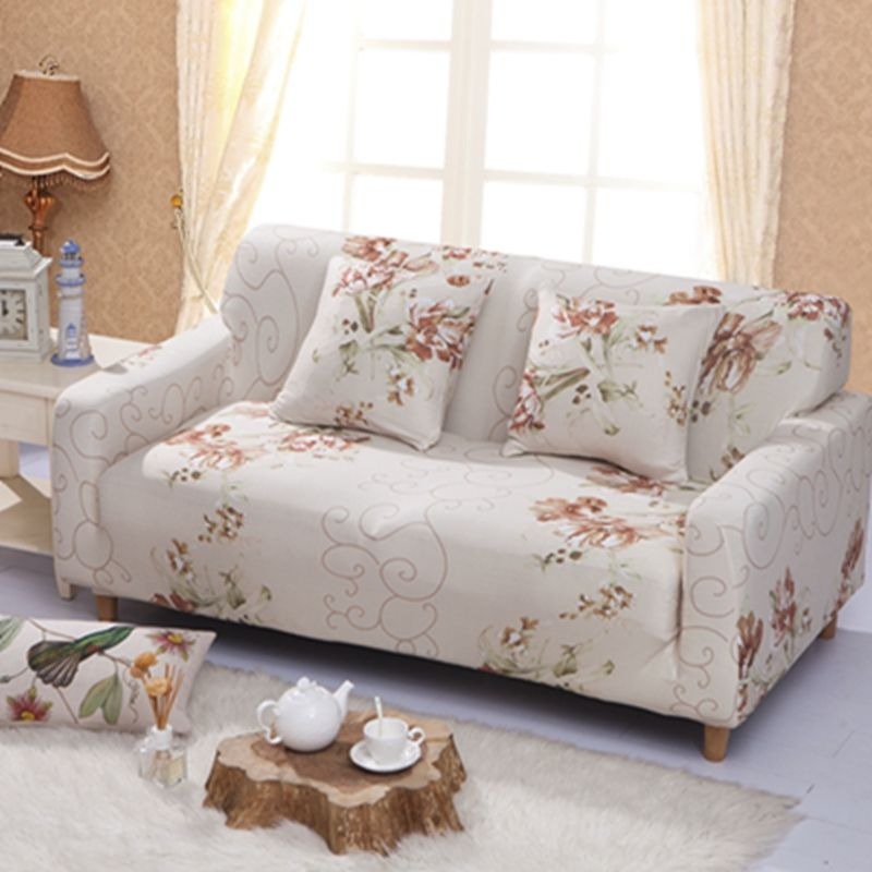 Elegant Sofa Cover L Shape 1 4 Seater Flowers Printed Universal Slipcover Soft Stretch Polyester Spandex Protector For