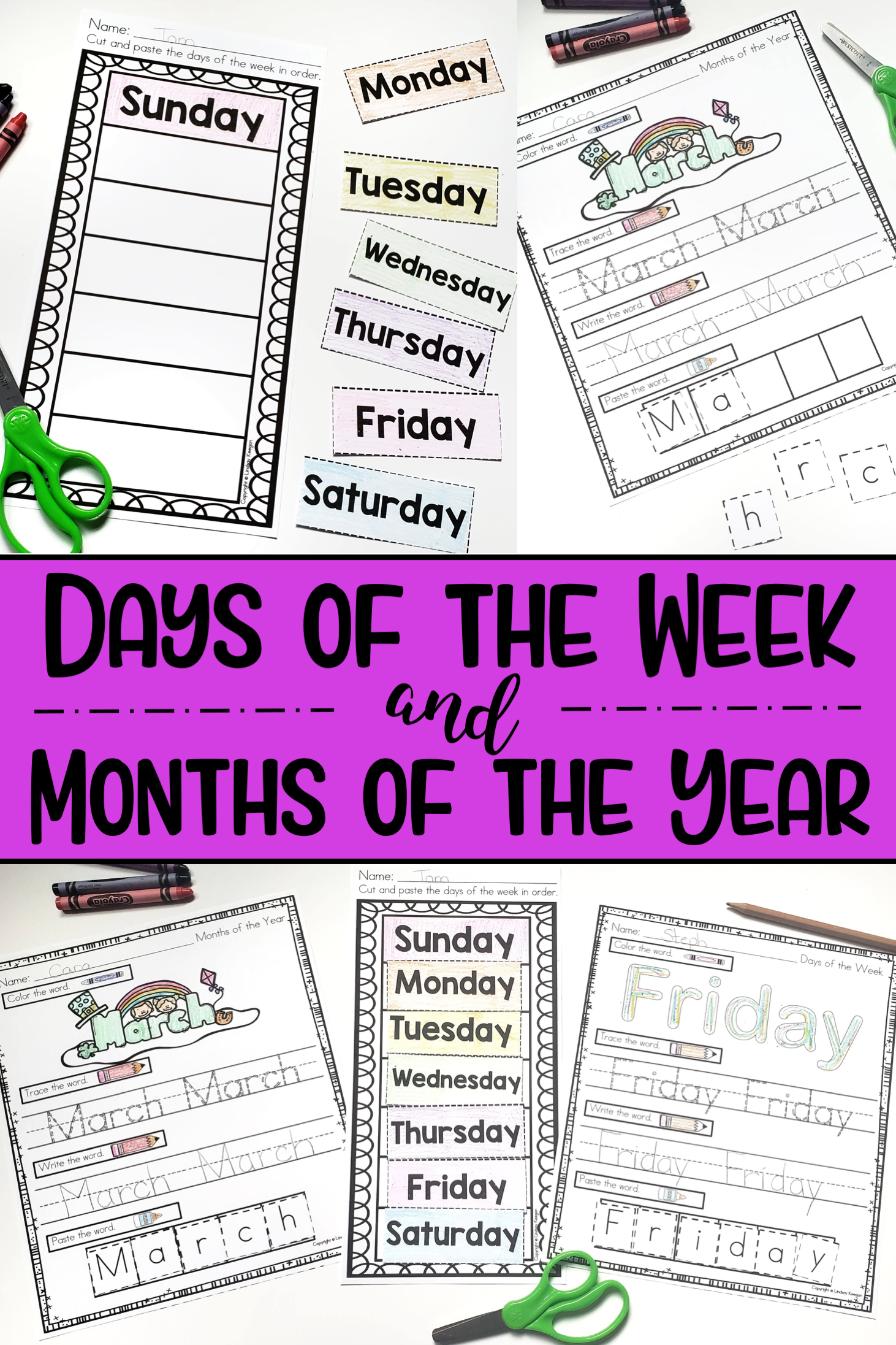 Days Of The Week And Months Of The Year Worksheets