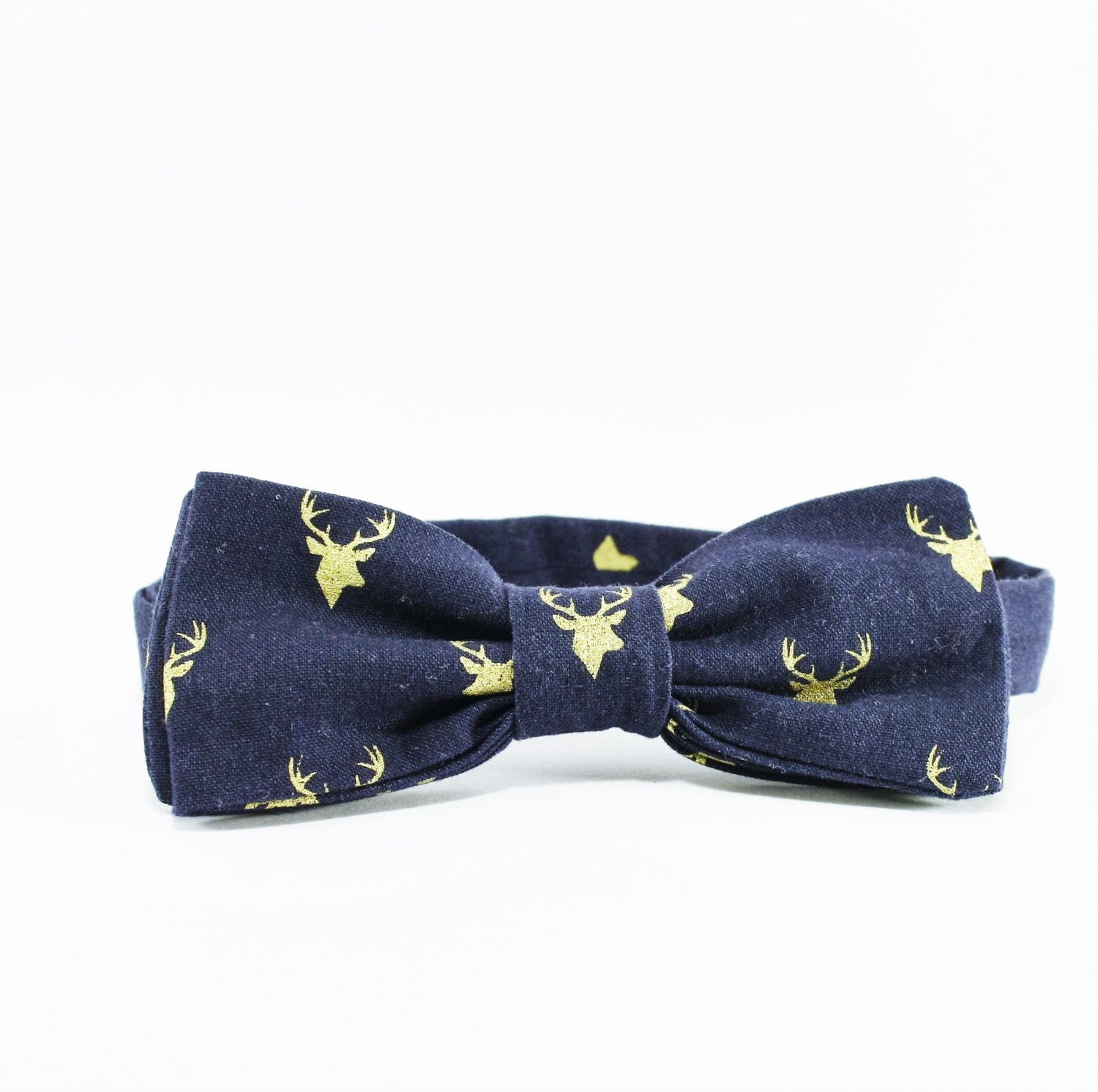 025688e6084e Navy Blue and Gold Deer Men's Bow Tie, Boy's Bow tie, Toddler, Boy, Teen,  Wedding Bow Tie, Formal wear, Adjustable Bowtie, Gold Antlers - pinned by  ...