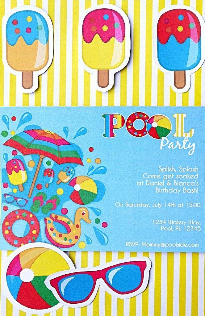 Pool Party Birthday Printable Invitations Birthdays, Surfer party - birthday invitation pool party