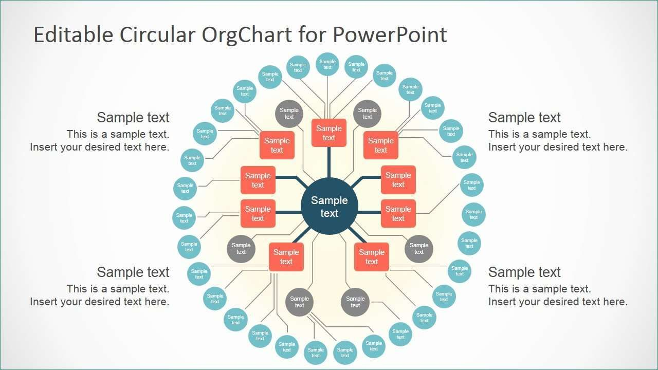 Organization Chart Template Powerpoint Realistic Editable Circular Org Chart Slidemodel Org Chart Organizational Chart Design Powerpoint Chart Templates