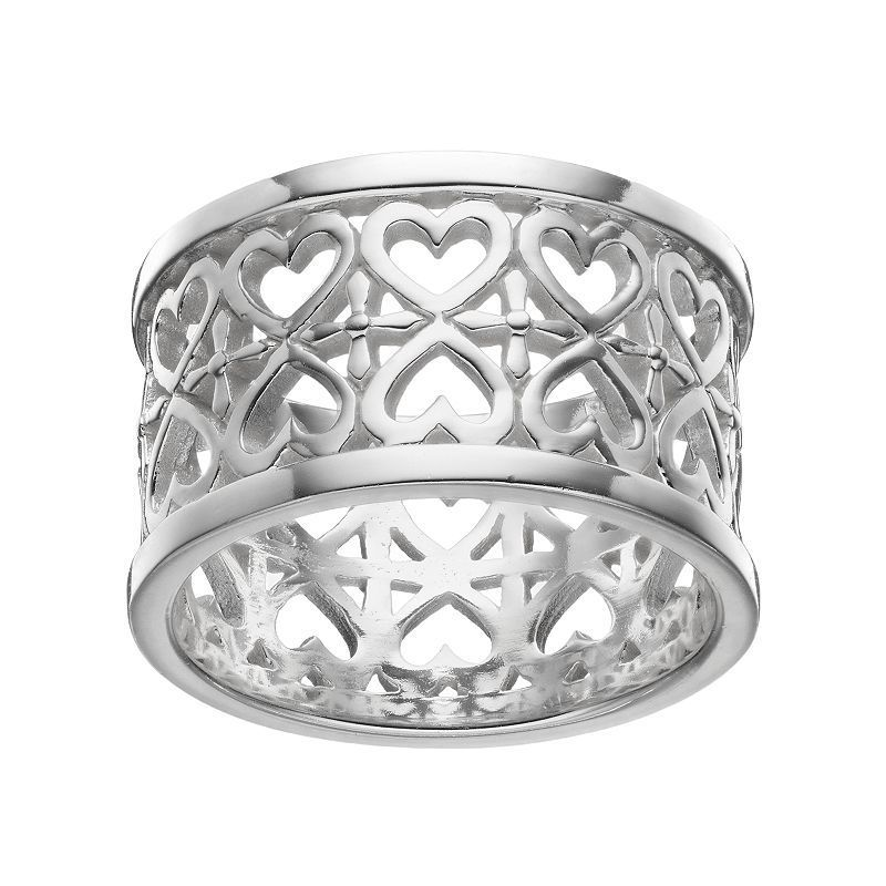 Primrose Sterling Silver Double Row Heart Ring, Women's, Size: 7, Grey