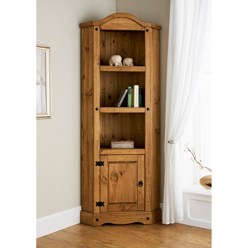 living room corner units solid pine in a rustic finish with iron style fixings 17635