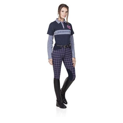 Ovation Ladies Euro Plaid DX KneePatch Breeches
