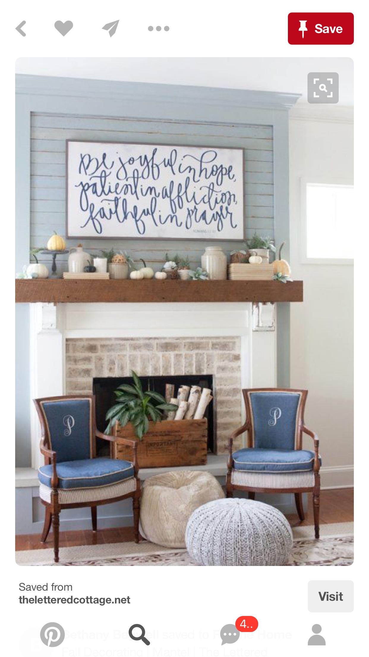 Blue shiplap handwritten quote perfect mantle shiplap fireplace fireplace art above fireplace