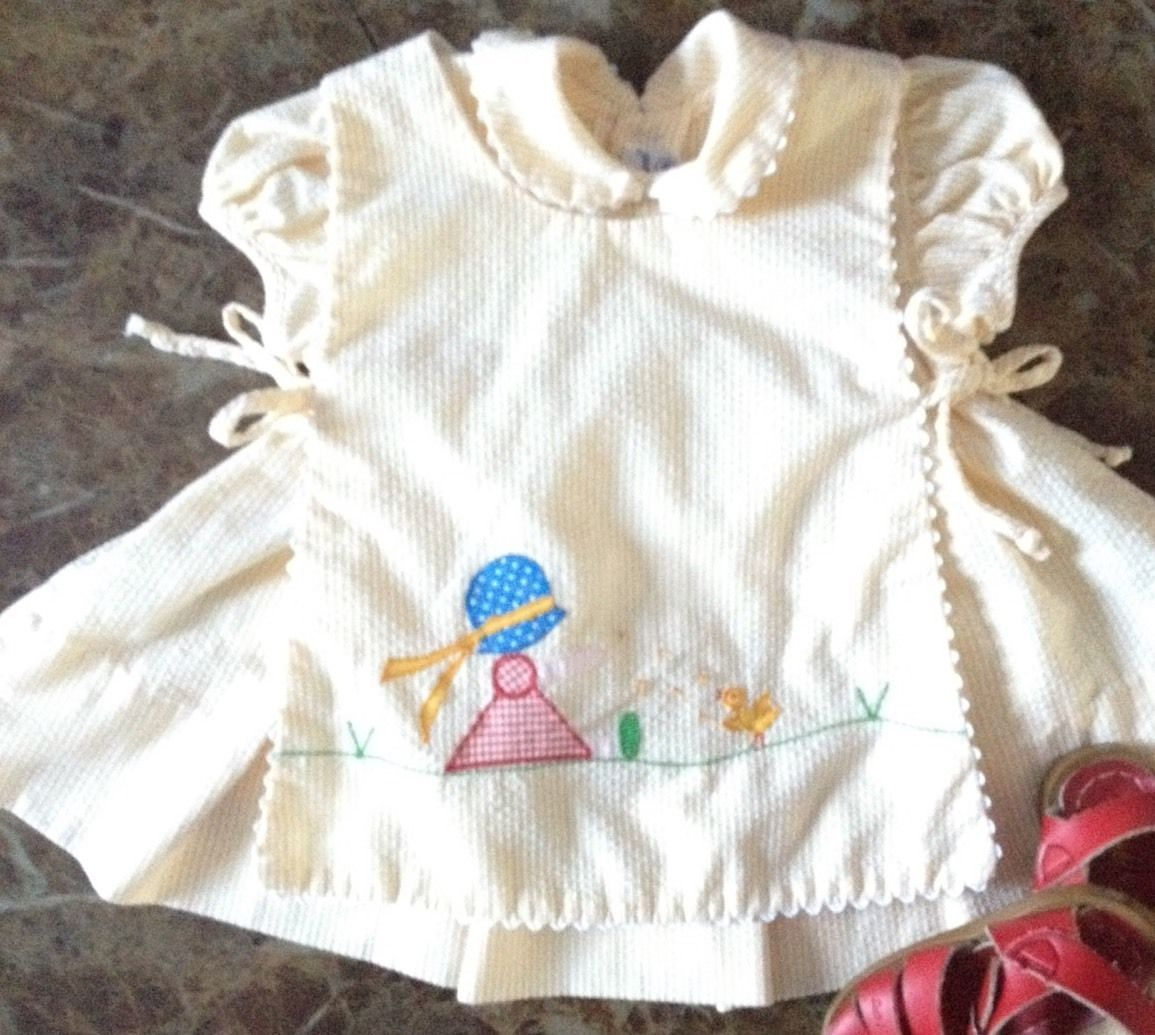White pinafore apron ebay - Details About Jayne Copeland Vintage Two Piece Baby Yellow Summer Infant Apron Pinafore Dress