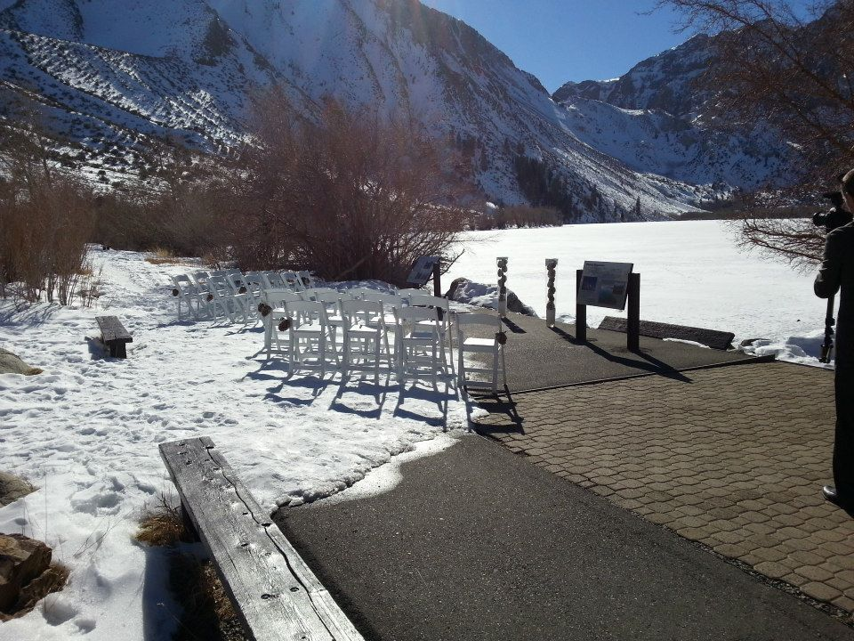 A Small January Wedding at Convict Lake, CA.  Complete with snow, a frozen lake and majestic mountains