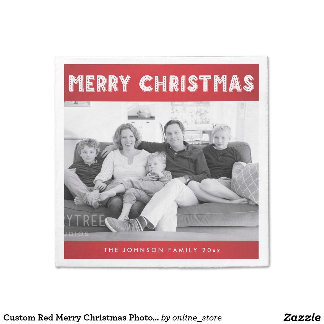 Custom Red Merry Christmas Photo Paper Napkins