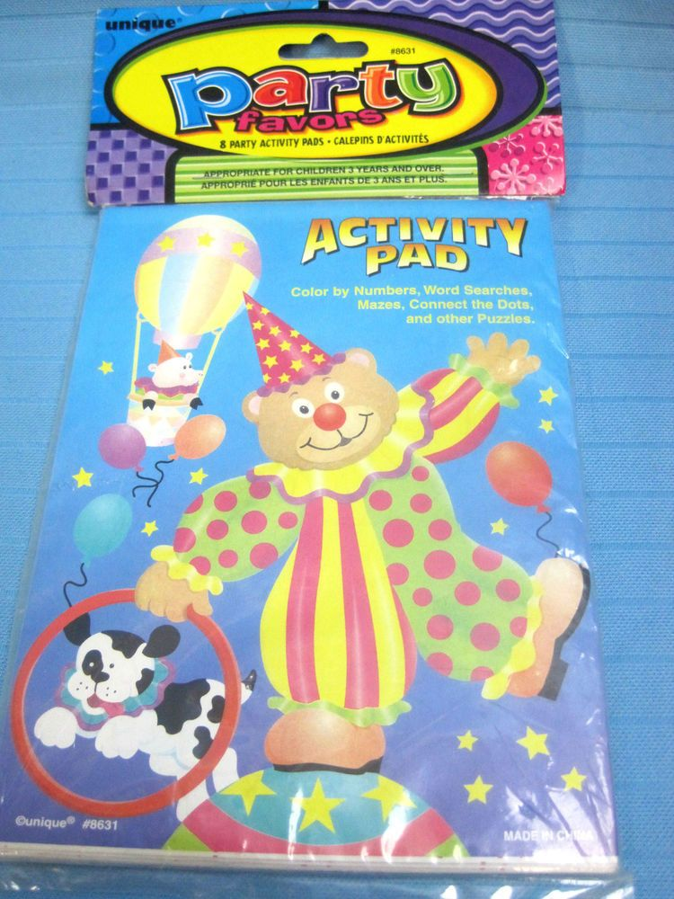 8 Party Activity Pads Favors Age 3 & Up Color Puzzles