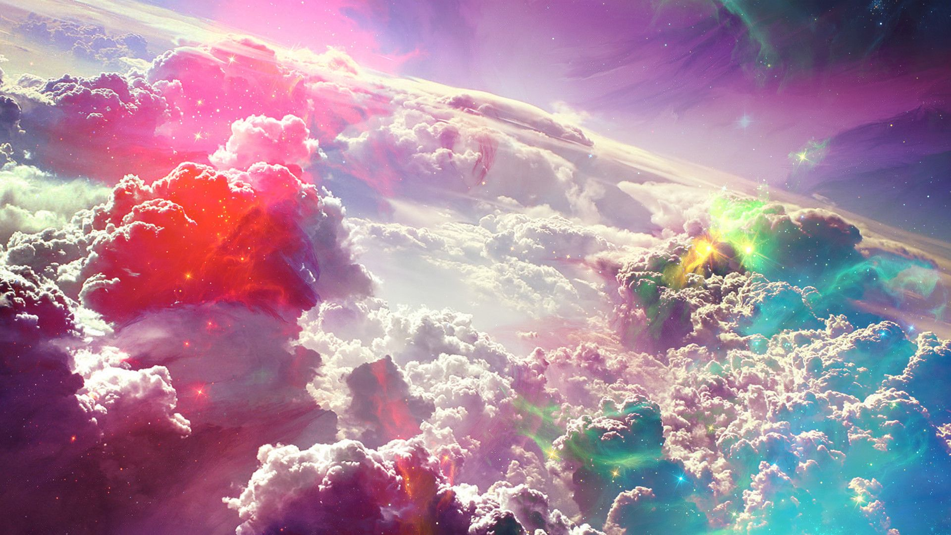 1920x1080 Colorful Fantasy Clouds Art Hd Wallpaper New Hd Wallpapers Colorful Clouds Space Art Cloud Wallpaper