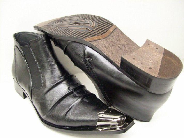 Antonio Zengara Mens Black Metal Tip Boots A400491 Size 9.5