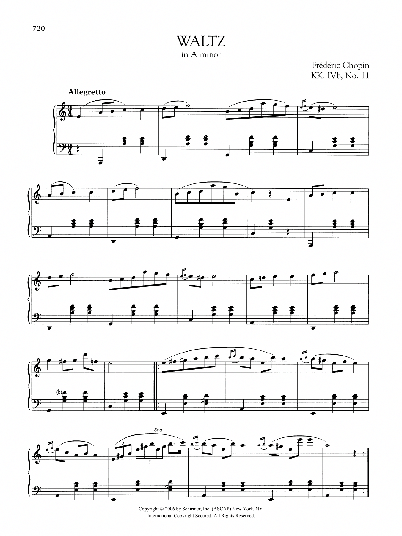 Download Piano Solo Sheet Music To Waltz In A Minor Kk Ivb