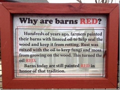 Origin of why are barns are painted red.
