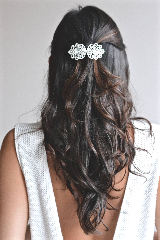 2 Épingle épingle Cheveux Mariage mariée coiffure CRISTAL NOEUD Blanc