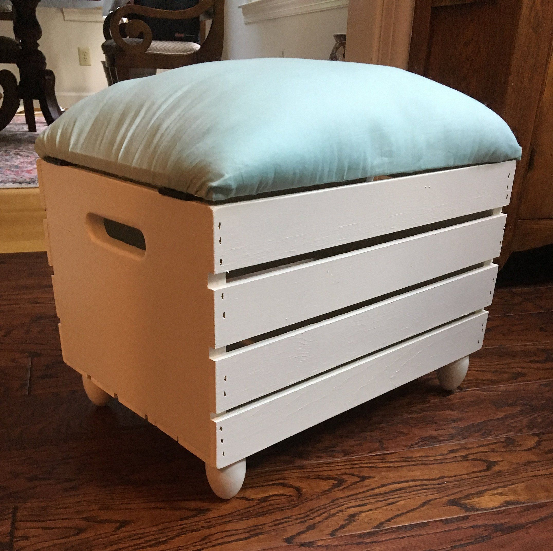 Storage Ottoman Crate Storage And Seat Etsy Crate Storage Storage Ottoman Diy Storage Ottoman