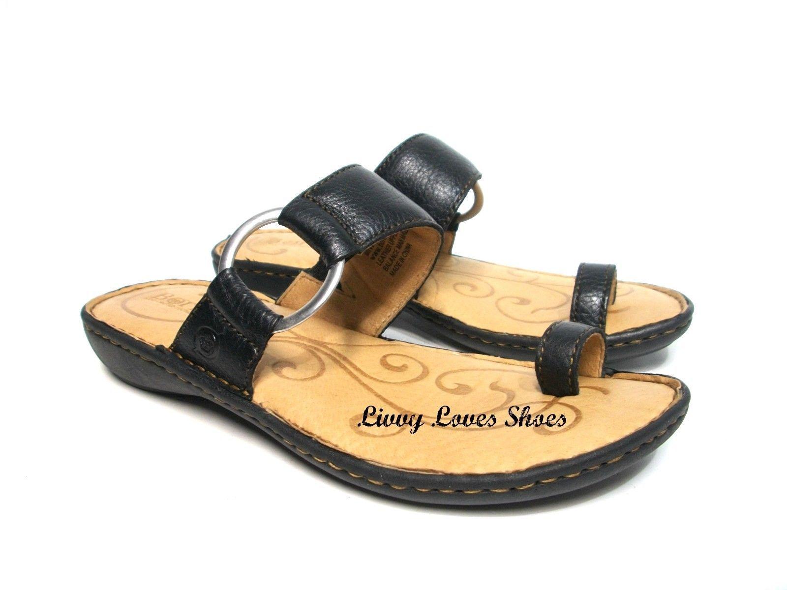 77359509a7be7 NEW ~ BORN  Captiva  Toe Ring Loop Thong Slide Sandal Black Leather 7 38 bc3