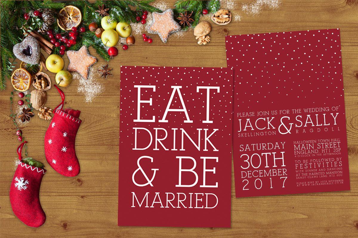 Modern White Ink on Red Christmas Wedding Invitations Stationery Set ...