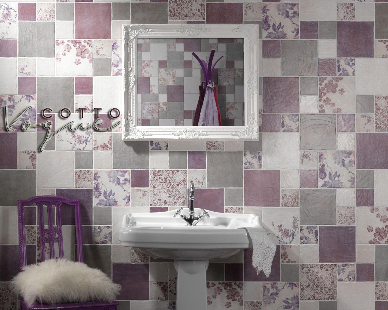 Piastrelle Bagno Mosaico Viola cotto tile composition by cir - #bathroom #gres #porcelain