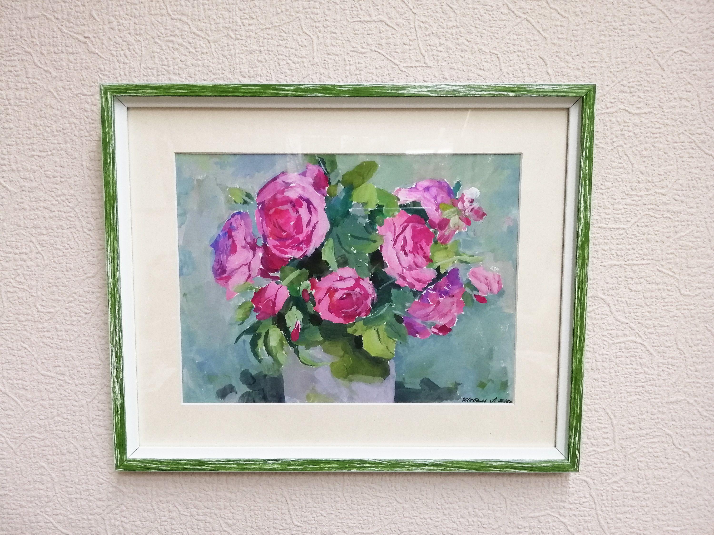 China roses bouquet painting original Gouache plein air