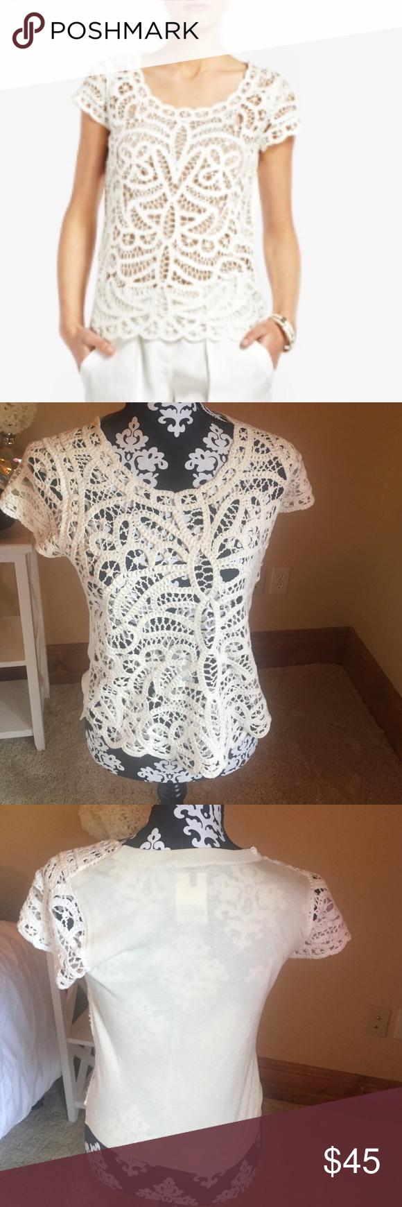 Crochet Top Cream crochet top, style is Morton in color Gardenia, sweater like back BCBGMaxAzria Tops