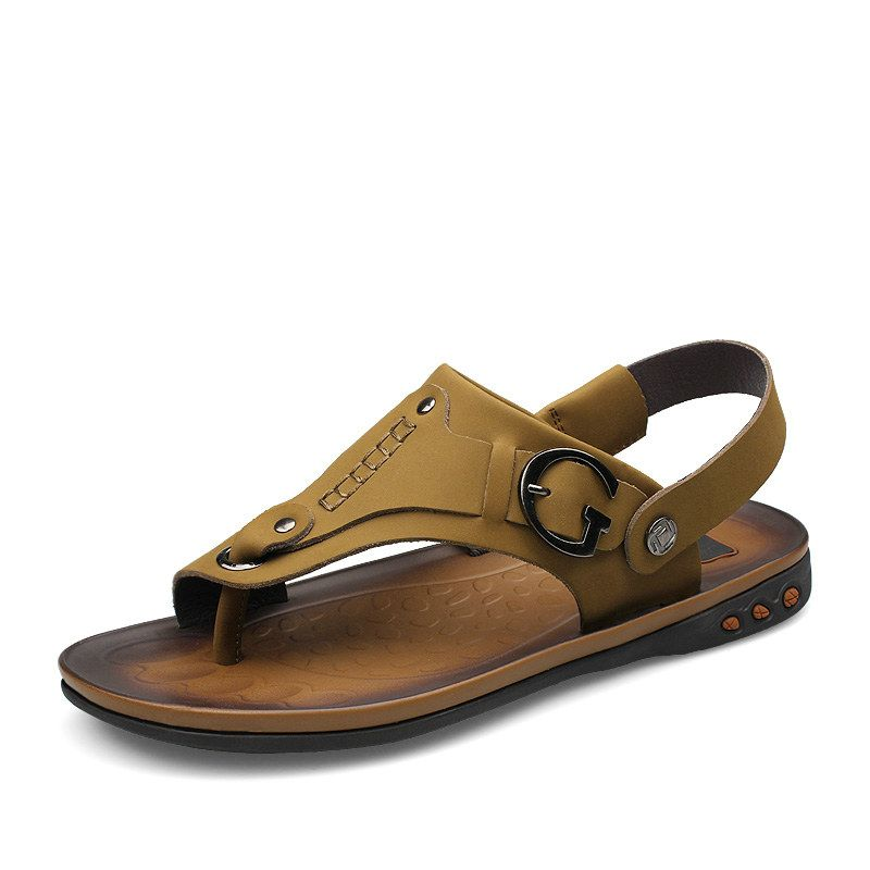 8b958baa84de Mens Designer Hawaiian Sandal Calzado Leather Man Zuecos Goma Male Casual  Zapatos De Verano Khaki Yellowish Brown Size 38 to 44