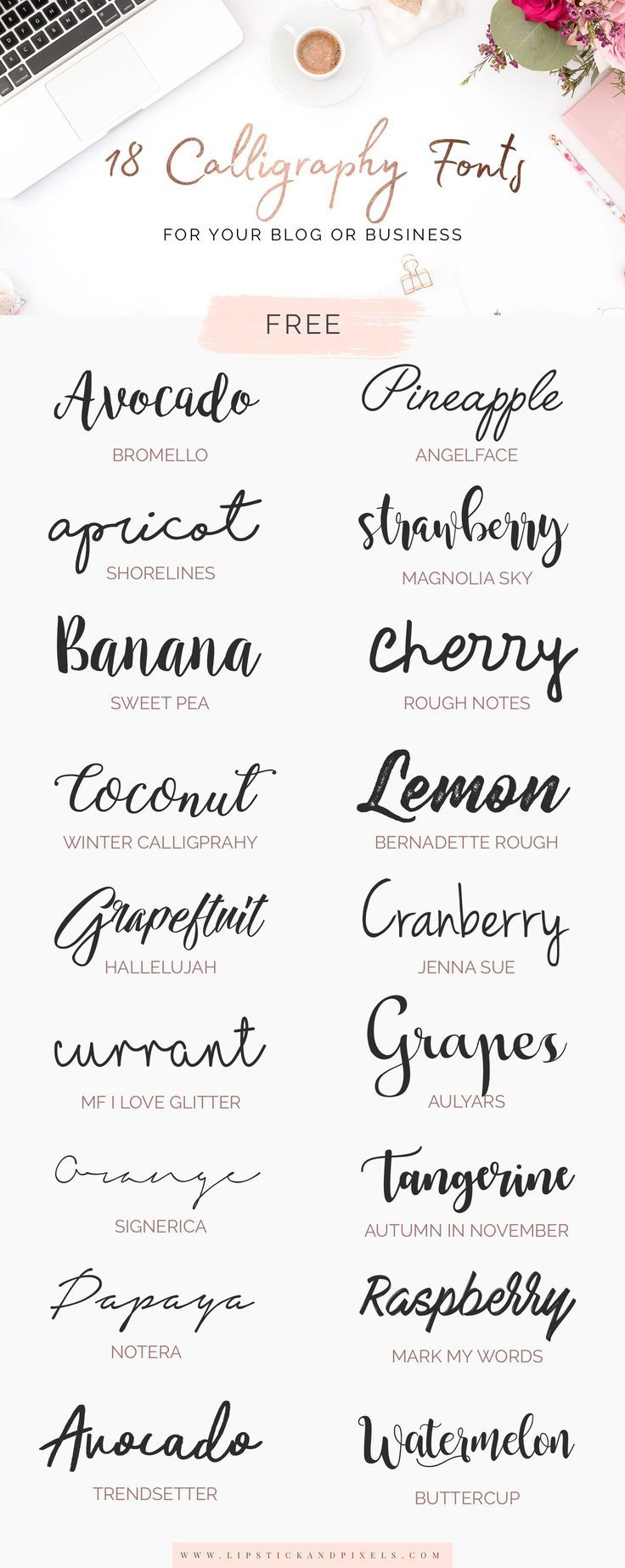 Free calligraphy fonts for your or business