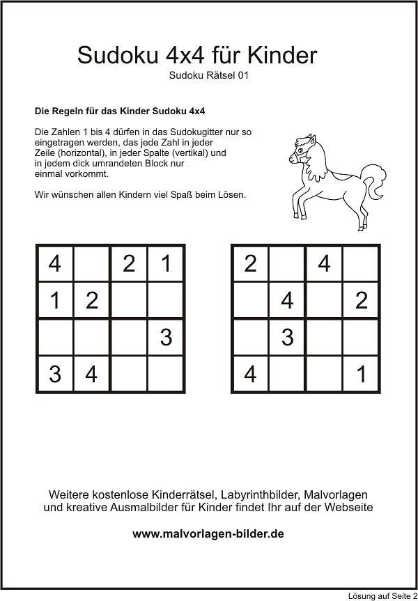 Kinder Sudoku | Schule | Pinterest | 4x4, Ausdrucken und Ausmalbilder