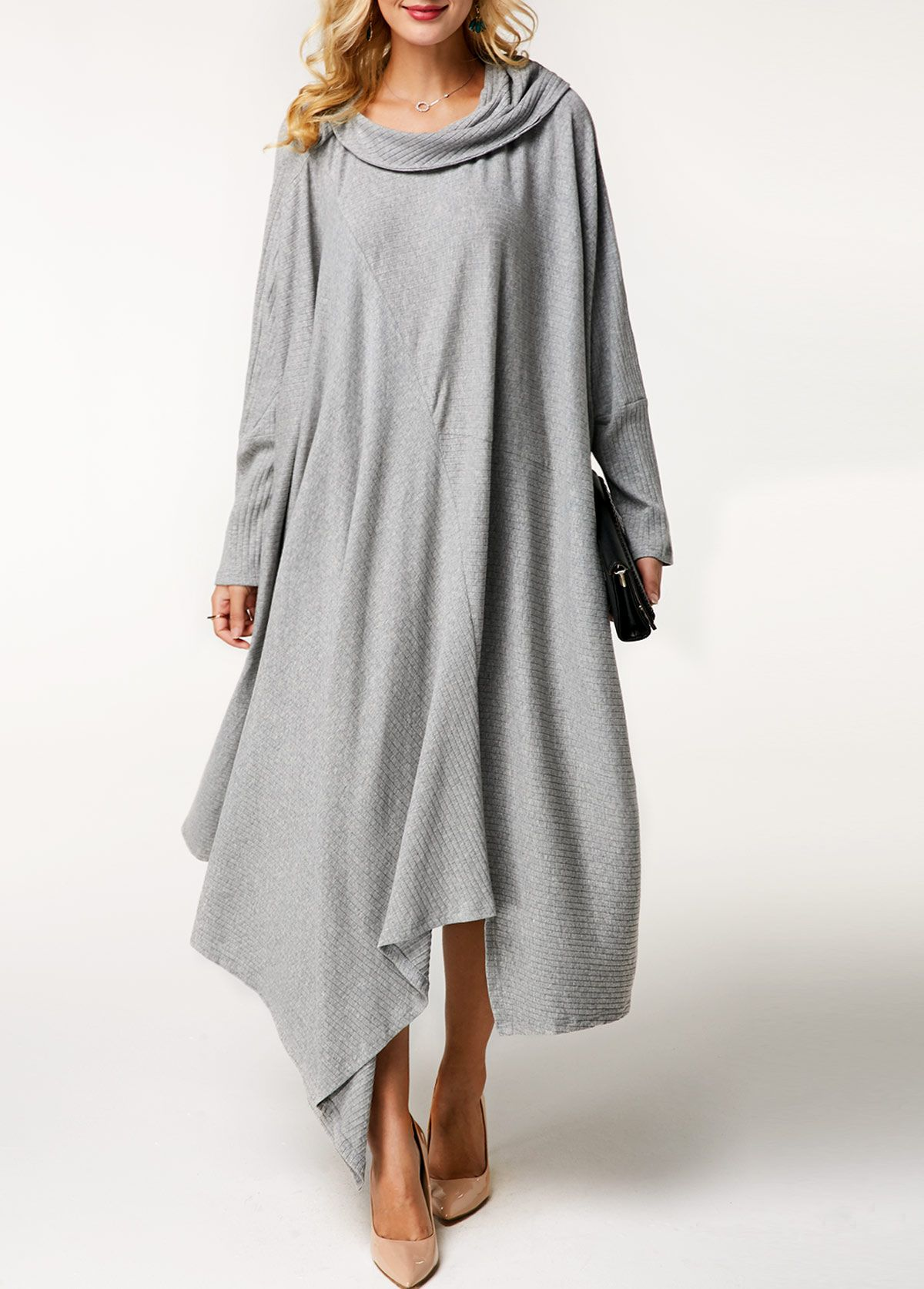 9c6c53d44ff Asymmetric Hem Light Grey Cowl Neck Sweater Dress | Rotita.com - USD $30.35