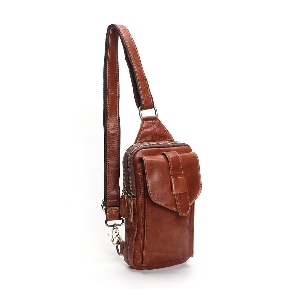 2496054039 Find More Handbags Information about Chest Bag 2018 Fashion Genuine Leather  Crossbody Bags Men Casual Messenger Bag Small Brand Designer Male Shoulder  Bag ...